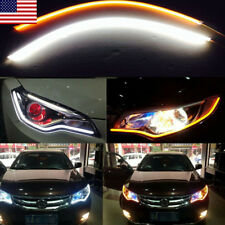US 60cm Flowing Running Turn Signal LED Light Strips Switchback White Yellow