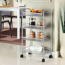 Silver 4 Tier Mesh Rolling Cart Trolley Storage Rack Wheel for Kitchen Bathroom