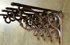 4 IVY SCROLL SHELF BRACKET BRACE Vintage Style Rustic Antique Brown Cast Iron 9""