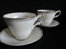 Argyle china White & gold Breakfast cups & saucers x 2 lovely condition