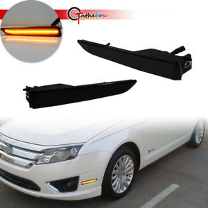 For 2010-2012 Ford Fusion Smoked Lens Front Bumper Side Marker LED Lights Lamps
