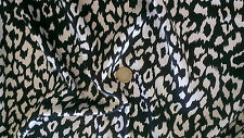 Black & White Leopard Animal Print Slinky satin fabric Material   FREE UK P&P