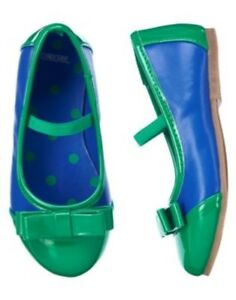 GYMBOREE SWEET MUSIC BLUE N GREEN BOW PATENT FLAT SHOES 03 04 5 6 7 8 9 10 NWT