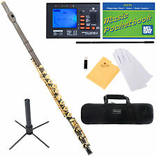 Mendini Black Nickel C Flute 17 Keys Open Hole Italian Pad B Foot+Tuner+Carekit