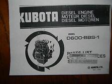 Kubota D600 Diesel Engine Parts Book