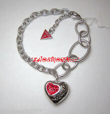 GUESS Exclusive Heart Red Crystal Bracelet Rhinestones Silver Tone Gift Pouch