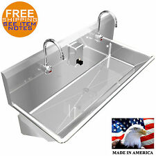 "WASH UP HAND SINK 2 USERS MULTI STATION 48"" ELEC FAUCET STAINLESS S. MADE IN USA"