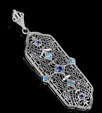 Blue Sapphire & Opal 925 Solid Sterling Silver Victorian Style Pendant Necklace