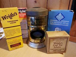 Wrights Coal Tar Vaporizer ORIGINAL 1940-59 with fluid, liquid, block & candles