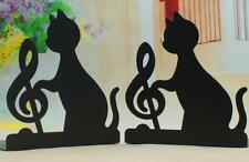 New 1Pair Music Notation Metal Bookends Cat Crafts Book Stand  Home Offce Decor