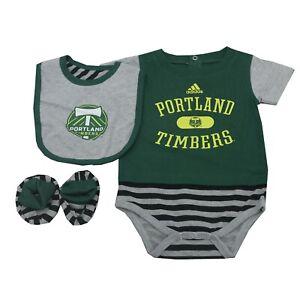 Portland Timbers MLS Adidas Baby Infant 3 Piece Creeper Bib & Boots Combo Set