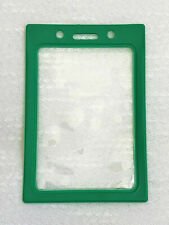 Green ID Badge Holder Vertical, Clear Window with Green Color Vinyl Border