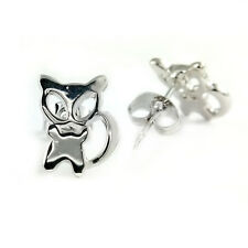 Fashion Jewelry - 18k White Gold Plated Cat Stud Earrings (FE387)