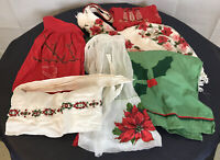 Vintage Christmas Holiday Fancy Kitchen Organdy Half Aprons Repair Crafts