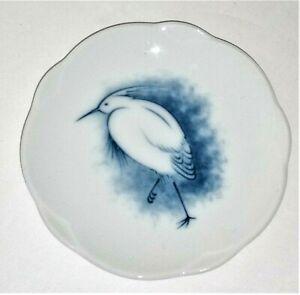 """Vtg OKURA Japan Egret Pattern Porcelain 3"""" Butter Pat Dish EVC"""
