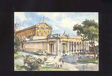 Cartolina Roma Basilica di S.Paolo - Acquarello Aldo Raimondi