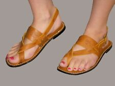 6 Nos Vtg 1970s Gladiator Sandal Gold Brown Stamped Leather Loop Toe 70s Shoe