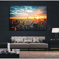 """New York City Sunset Cityscape Silk Cloth Poster Picture Home Wall Decor 36""""x24"""""""
