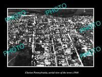 OLD LARGE HISTORIC PHOTO OF CLARION PENNSYLVANIA, AERIAL VIEW OF TOWN c1940 2