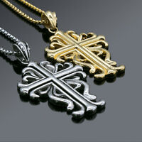 """24""""Men's Stainless Steel Gold Silver Fancy Charm Cross Pendant Necklace Chain"""