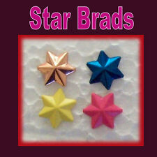 20 BRADS SHAPED STAR 4 Colours 20 Pack - BULK Stars NEW Scrapbooking Cards