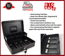 Sattfebox Steel Cash Box with Money Tray and Key Lock , Black, 0.21 Cubic Feet