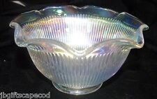 VINTAGE RUFFLED WHITE IRIDESCENT BOWL- RIBBED - JEANNETTE?  EXQUISITE HUES- LOOK