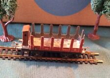 Marklin H0 / 00 old tin 372 lumber car, full metal , with brakemans cabin prewar