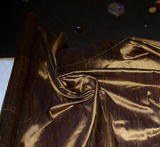 100% Natural Silk Dupioni Fabric Topaz Copper Bronze Brown Luxurious BY THE YARD