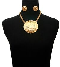 """GOLD Egyptian BIG ROUND MAGNETIC Statement Necklace & Earrings AFRICAN Chain~18"""""""