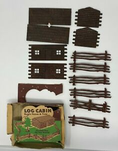 1950s Plasticville LC-2 Log Cabin, Fence, and Tree w Orig Box Bachmann Brothers