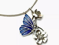 Beautiful Vintage Silver Blue Enamel Butterfly Flower Pendant Chain Necklace