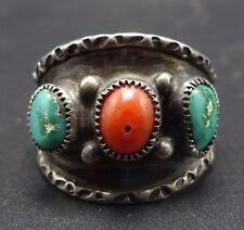 Vintage NAVAJO Sterling Silver CORAL & TURQUOISE Cigar Band RING, size 13