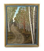 Vintage Oil Painting of Country Road in Forest Birch Trees Landscape Signed