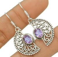 Filigree Amethyst 925 Solid Sterling Silver Earrings Jewelry, CD30-8