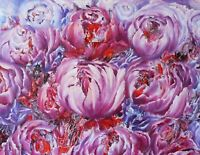 Peonies painting flowers abstract original oil canvas hand painted signed large