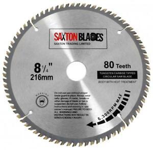 Saxton TCT Circular Wood Saw Blade 216mm x 80T x 30mm for Bosch Dewalt Mitre