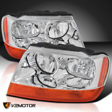 1999-2004 Jeep Grand Cherokee Clear Factory Style Headlights Amber Turn Signal