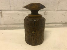 Antique Wood Carved Tree Trunk Form Traveling Inkwell w/ Glass Insert