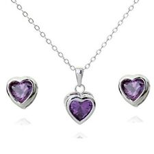 18K WHITE G/ P GENUINE PURPLE CUBIC ZIRCONIA HEART NECKLACE AND EARRING SET