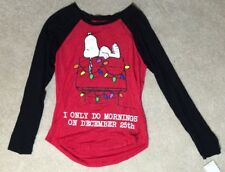 """SNOOPY """"I Only Do Mornings On Dec 25th"""" Shirt - Size L -  NEW"""