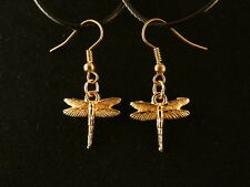 Libelle Ohrringe 24 Karat Vergoldet Libelle Insekt Tier Charm Gold  Hänger