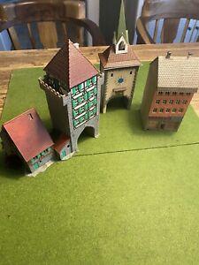 Faller Häuser Drogerie, Kirchturm, Burg 3 Stück alt