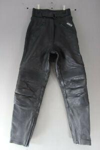 ASHMAN BLACK COWHIDE LEATHER BIKER TROUSERS SIZE 10 WAIST 24 IN/INSIDE LEG 29 IN