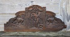 Fronton ancien sculpté 19 XIX ème 78,5 x 35 cm triptyque bas-relief antique oie