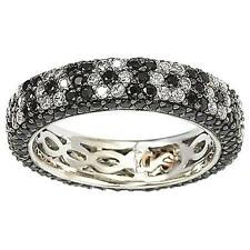 Suzy Levian Sterling Silver Cubic Zirconia Black and White Flower Eternity Band