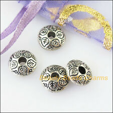 20Pcs Antiqued Silver Round Flat Leaf Spacer Beads Charms 8.5mm