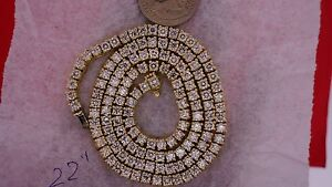 28.50 Ct Solitaire Diamond Tennis Chain Celebrity Statement Style 14k YG Classy