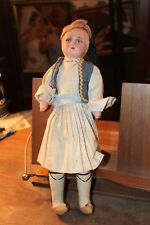 "Antique 14"" Paper Mache Composition Cloth Body Doll Ethnic Costume Gypsy"
