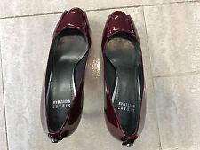 Burgundy Red Stuart Weitzman designer patent leather classic peeptoe pumps 7.5